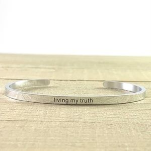NEW Living My Truth Silver Mantra Cuff Bracelet